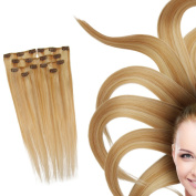 HI GIRL 50cm 100g 100% Clip in Remy Hair Extensions 8PCS Long Length Straight Very Soft for Beauty