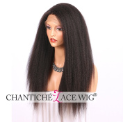 Chantiche Italian Yaki 360 Lace Frontal Wigs with Baby Hair and High Ponty Tails Best Brazilian Virgin Human Hair Lace Wig with 150% Heavy Density for Women 46cm Natural Colour