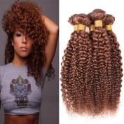 Black Rose Hair Popular Brown Colour 30# Virgin Brazilian Hair 3 Bundles Curly Weave Grade 8A Unprocessed Human Hair Weave Curly Bundles