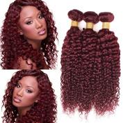 Black Rose Hair 8A Brazilian Hair Curly Weave 4 Bundles Burgundy Colour 99J# Kinkys Curly Wave Remy Hair 100% Virgin Unprocessed Human Hair Extensions