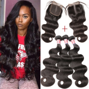 Pizazz Peruvian Hair 3 Bundles Body Wave Weave with Closure Middle Part 8a Unprocessed Human Hair Bundle with Closure