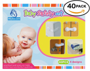 Safety Set Baby 40 pcs | 20 table Corner Protectors for baby proofing | 10 Cupboard and Drawer Locks | 6 Door Locks baby Safety | 4 Foam Door Stoppers finger pinch preventer | Security set with Strong adhesive | 100% GUARANTEE and .