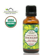 US Organic 100% Pure Lemongrass Essential Oil - USDA Certified Organic - 30 ml - w/ Improved caps and droppers