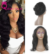 Queen Plus Hair Pre Plucked 360 Full Lace Band Frontal Cap Closure (22×4×2) Natural Hairline & Adjustable Strap Body Weave 7A Brazilian Virgin Natural Black Human Hair