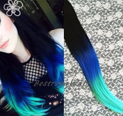 Off Black to Royal Blue to Aqua Three Colours Ombre Hair Extension, Indian Remy Clip in Human Hair Extensions RHS270