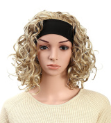 OneDor Women's Fashion 3/4 Full Head Curly Hair Wig With Headband