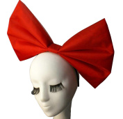Anogol Huge Large Women's Bow Hair Bands Headdress Party Props Headband Hair Accessories for Cosplay Halloween Red Bowknot