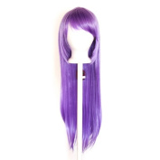 Tomoyo - Mauve Purple Wig 80cm Long Straight Cut w/ Long Bangs