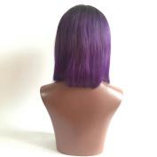 Brazilian Virgin Hair Glueless Lace Front Wig Ombre 1B Purple Short Bob Wig for Black Women Human Hair 30cm