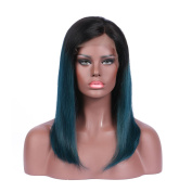 Brazilian Virgin Hair Glueless Lace Front Wig Ombre 1B Blue Short Bob Wig for Women Human Hair 25cm