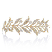 Remedios Rhinestone Crytsal Leaves Shape Wedding Bridal Headband Tiara Headpieces, Gold