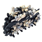 Bzybel Crystal Colourful Rhinestones Flower Luxury Hair Styling Claw Hair Comb for Women Girls