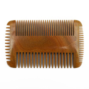 Meta-C Men's Portable Beard Comb – Handcrafted With Natural Green Sandal Wood – NO SNAG, NO TANGLE, NO STATIC – Four Sided Teeth With Wide Teeth & Fine Teeth