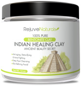 Sodium Bentonite Indian Healing Clay, 470ml ~ 100% Pure Powder ~ Use as a Deep Cleansing, Detox Mask / Mud Pack for Blemishes and Clogged Pores ~ All Natural, Made in the USA, GMO Free