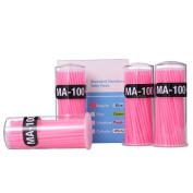 FlyItem 400 Pcs Pink Professional Regular Disposable Micro Mascara Applicator Brush Bendable Individual Eyelash Extension Mini Fibre Swabs Eye Lash Makeup Cosmetic Tool