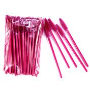 Silentrees 50 PCS Disposable Eyelash Colourful Brush Comestic Brush Kits Rose