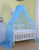 Baby Mosquito Netting Dome Jacquard Toddler Cots Canopy,Blue