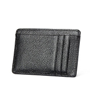 MuLier Genuine Leather Slim Credit Card Holder Front ID Window Anti-RFID Small Wallet