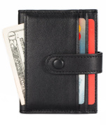 Leather Credit Card Holder 16 Slots Bifold Front Pocket Wallet RFID Blocking - Black