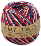 130m of 1mm 100% Hemp Twine Bead Cord in Red, White, & Blue