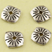 MFMei Antique Style Square Bead Caps, Sterling Silver Flower Caps