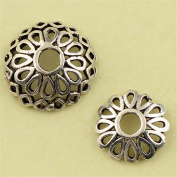 MFMei Tibetan Style Sterling Silver Hollow Round Bead Caps, Flower Caps (CY016)