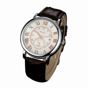 Womail McyKcy Mens Unique Classic Business Casual Design Leather Waterproof Quartz Analogue Men's Date Strap Wrist Watch Stainless Steel Case ,50M Water Resistant , Comfortable Leather Band