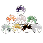 KINGREE colourful natural crystal pendants crushed stone lucky tree creative chakra life tree cash cow pendant