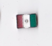 Italy Flag with Crystal Floating Charm