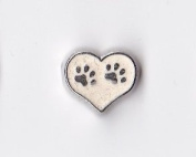 White Heart with Paw Prints Floating Charm