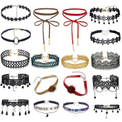 MingJun 18 Pieces Colourful Choker Necklace Set Stretch Velvet Classic Gothic Tattoo Lace Choker for Women Girls and Teens