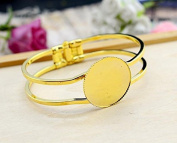 25mm Gold Plated Bangle Base Curved Cuff Bracelet Blank Findings Tray Bezel Setting Cabochon Cameo