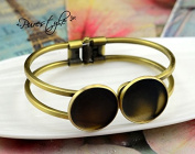 20mm Gold Brushed Metal Plated Bangle Base Bracelet Double Blank Findings Tray Cameo Bezel Cabochon Setting