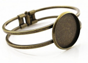 25mm Bronze Plated Bangle Base Cuff Bracelet Blank Findings Tray Cameo Bezel Cabochon Setting
