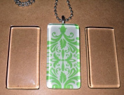 Patty Both 10 Ultra Clear White Glass Tile Rectangles for Crafting Pendants, Necklaces Jewellery