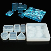 Jeteven 7 Desings Water Wave Silicone Jewellery Pendant Mould Casting Mould Jewellery Making DIY Craft Tool