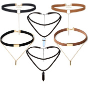 Tpocean 6 Pieces Sexy Black Brown Velvet Gold Chain Chokers Necklaces for Women Girls Teens