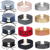 Tpocean Punk Wide Red Grey Black Blue Denim Jeans Choker Necklace Set Gold Silver Sequins Bling Kink Leather Thick Sexy Black Velvet Necklaces for Women Girls 12 Pieces