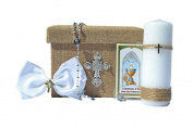 All in One Holy First Communion Giftset Keepsake ENGLISH 6 Piece GIRL in SILVER