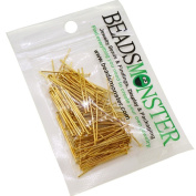 BeadsMonster 35mm Golden Plated Headpins for Jewellery Making, 15g, around 90~100pcs