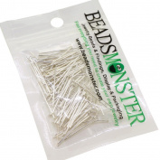 BeadsMonster 22mm Silver Plated Headpins for Jewellery Making, 15g, around 140~150pcs