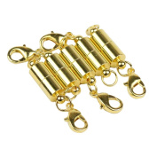Lieomo 5Pcs 1.3cm Tiny Gold Magnetic Clasp Filled Converter For Necklaces Closed Loops
