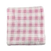 Super Soft Polyester Baby Blanket Pink Gingham Print 70cm x 70cm
