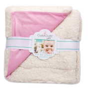 Cuddl Duds Baby Exclusive Plushfill Ivory/Pink Reversible Sherpa Velour Blanket