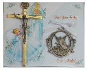 Inspire Nation Silver Plated Guardian Angel Crib Medal and Gold Plated Cucifix Cross 10cm