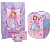 Toddler Bed Set and Kid Pop-up Hamper with Sofia the First