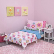 Pretty, Super Soft Everything Kids Flower Garden Party 4pc Toddler Bedding Set, Pink,White, Blue