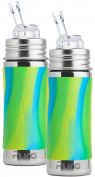 Pura Kiki Stainless Steel Straw Bottle with Aqua Swirl Silicone Sleeve 330ml, Set of 2