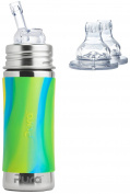 Pura Kiki Stainless Steel 330ml Bottle with Silicone Straw plus 2 XL Sipper Spouts, Aqua Swirl