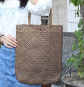 Natural Hand-woven Straw Tote Retro Large Casual Summer Women Beach Handbags Seagrass Shouer Bag (14 x13 H inches)